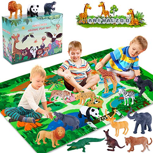 INNOCHEER Safari Animals Figures Toys with Play Mat, Realistic Plastic Jungle Wild Zoo Animals Figurines Playset with Giraffe, Lion, Panda, Gorilla for Kids, Boys & Girls