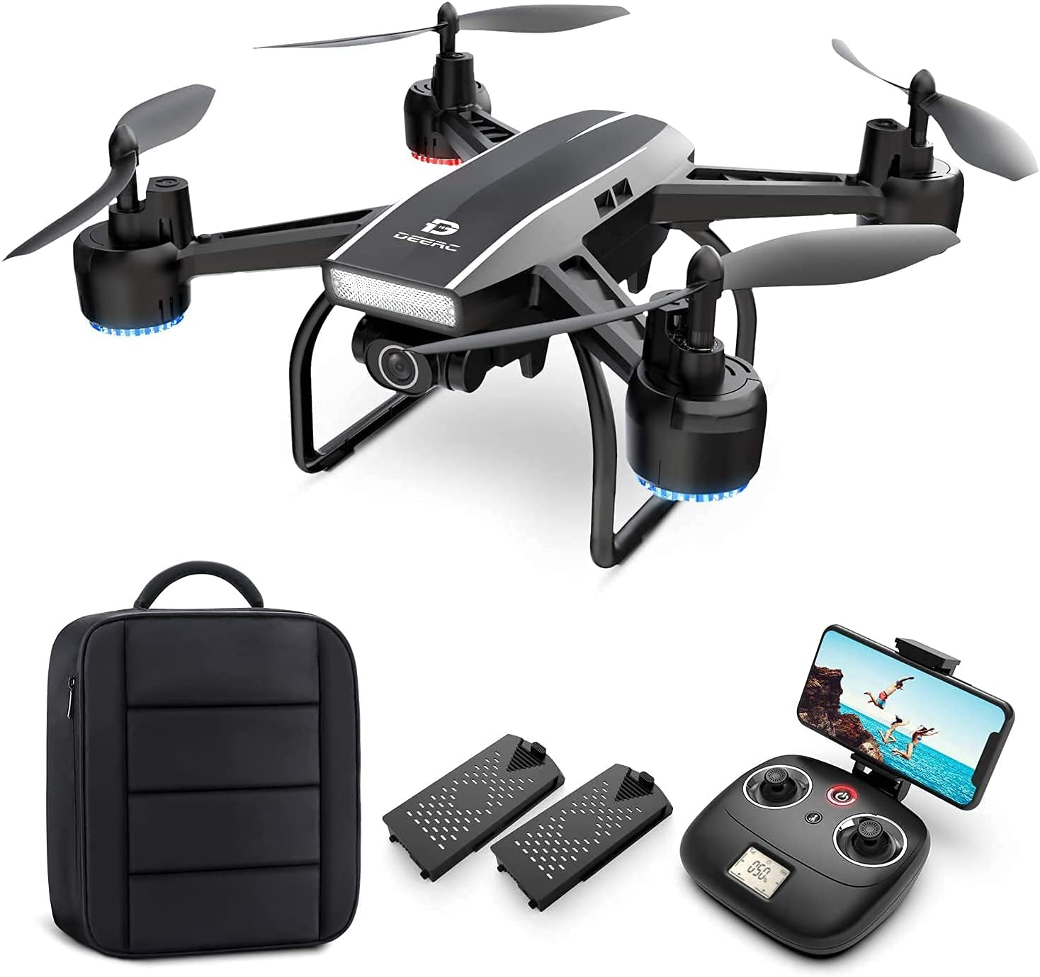 DEERC D50 Drone with Camera for Adults 2K Ultra HD FPV Live...