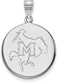 Jewelry Stores Network McNeese State University Cowboys Mascot Logo Disc Pendant in Sterling Silver