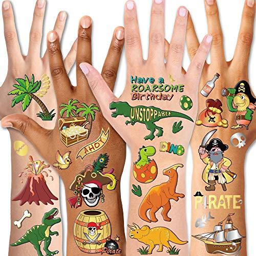 Qpout Temporäre Tätowierungen für Dinosaurierpiraten für Kinder - 132 Designs, Gesichtstätowierung, Geburtstagsfeier, Dinosaurierpiratenparty, T-Rex für Jungenstrümpfe Stuffers Goody Filler Rewards