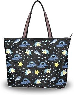 Große Schultertasche Mädchen Einhorn Muster Handtasche Tragetasche mit Reißverschluss Strand Taschen