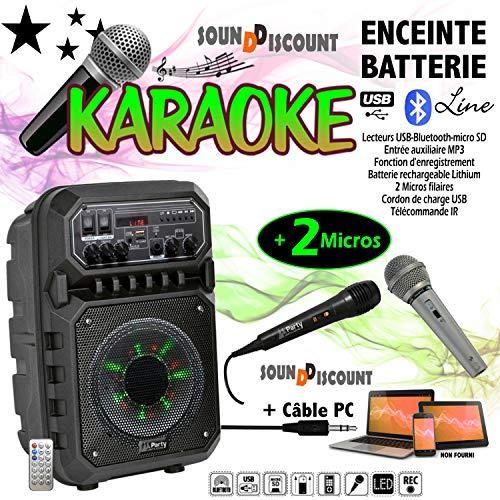 MICROS KARAOKE ENCEINTE SONO + USB MP3 BLUETOOTH FM PA DJ SONO MIX LED Cadeau Noël fête famille à la maison enfant ado adulte