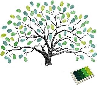 Fingerprints Tree, Proboths Creative Wedding Guest Signature Sign-in Book Canvas Ballons Tree Fingerprints Painting Decor ...