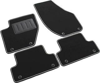 Das Teppich Auto, sprint04803, Fußmatten Teppiche Schwarz Rutschfest, verstärkter Rand, zweifarbig, Absatzschoner aus Gummi