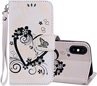 Good Embossed Heart Butterfly Pattern Horizontal Flip Leather Case for iPhone XS Max, with Card Slot & Holder & Wallet & Lanyard(Gold) Starxx (Color : Beige)