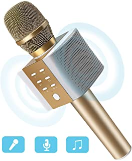 Karaoke Microphone, MODAR Wireless Microphone Handhold Mic Bluetooth Speaker 3.0, 3-in-1 Dual Speakers Built-in Chargeable Battery for Outdoor Home Party KTV Playing Singing Music, Gift for Family(Updated Gold)