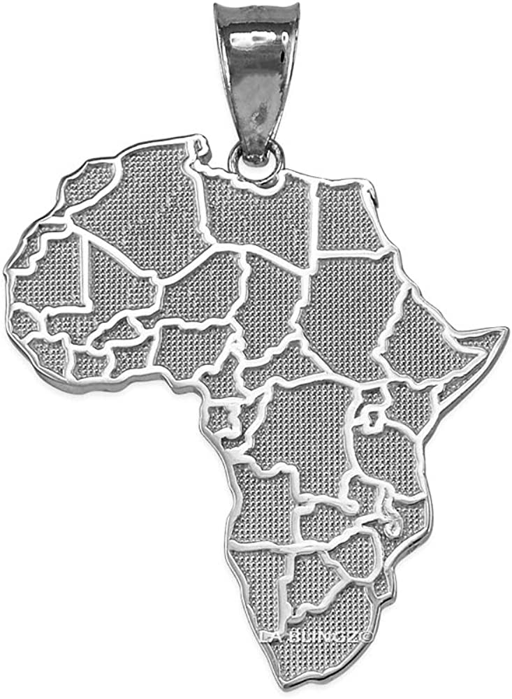 10K White Gold Africa Necklace 激安挑戦中 休日 Country Pendant Map