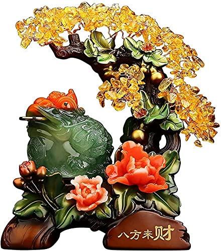 JJDSN Estatua de Rana de Dinero Feng Shui con Figuras de árbol de Dinero, Escultura de Resina de Sapo de la Suerte, Oficina, Escritorio, Calentamiento de la casa, Regalo de Apertura de Tienda, Ver