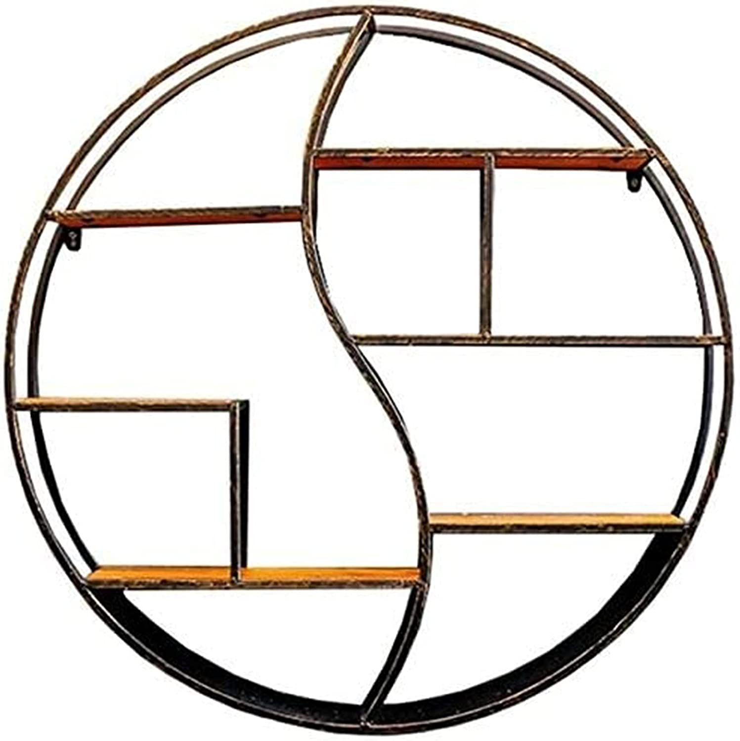 ZSPSHOP Round Shelf Wood National products Iron Decorations Hanging Storage C excellence Rack