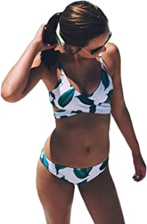 Women's Fresh Leaves Printing Cross Bikini Set