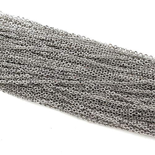 Edelstahlkette Metallkette aus Edelstahl Gliederkette Kabel Kette Link Runde Bastelkette Panzerkette Schmuckkette Perlenkette