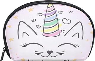 ALAZA Unicorn Cat Half Moon Cosmetic Makeup Toiletry Bag Pouch Travel Handy Purse Organizer Bag for Women Girls