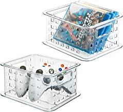 mDesign Plastic Stackable Household Storage Organizer Container Bin with Handles - for Media Consoles, Closets, Cabinets -...