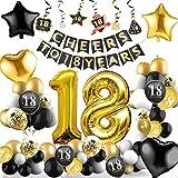 18 Cumpleaños Decoracione, Globos Feliz Cumpleaños Negro y Dorado Decoración Fiesta Cumpleaños, Suministros para Hombres y Mujeres Adultos Decoración de Manteles,Confetti,Globos de Látex Impresos