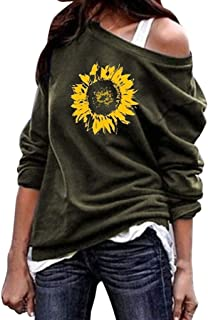 COM1950s Women's Tops Fashion Causal One Shoulder Sunflower Print Blouses Long Sleeve Top Sweater