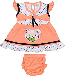 Hopscotch Baby Girls Cotton Short Sleeves Embroidery Dress with Bloomer in Orange Color