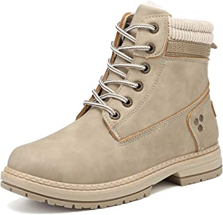 KARKEIN Ankle Boots for Women Low Heel Work Combat Boots Waterproof Winter Snow Boots