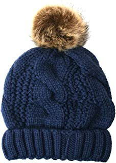 ANGELA & WILLIAM Women's Thick Cable Knit Beanie Hat with Soft Fur Pom Pom