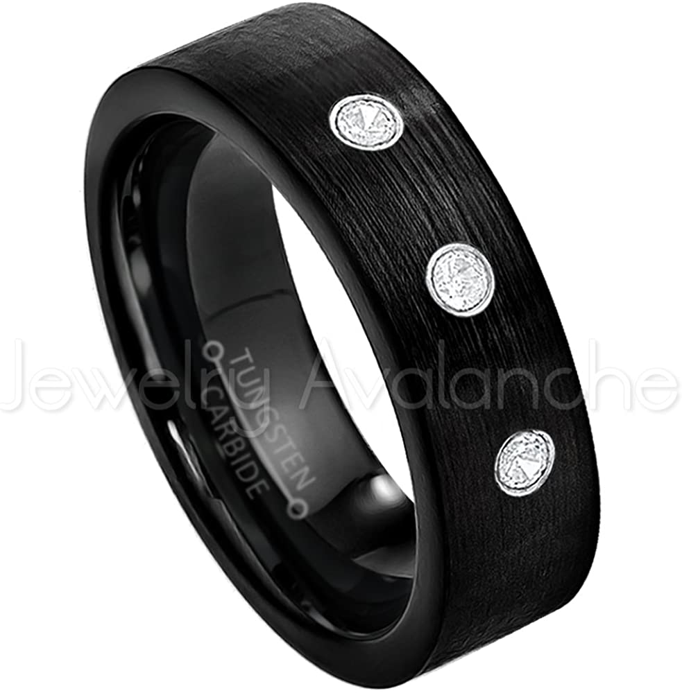 Jewelry Avalanche 7mm Brushed Finish Black IP Comfort Fit Pipe Cut Tungsten Wedding Band - 0.21ctw Diamond 3-Stone Ring - April Birthstone Ring