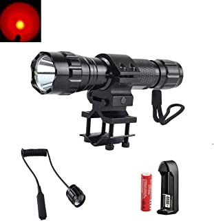 SHIGOO 350Lm Bright Red Hunting Light LED Coyote Hog Pig Varmint Predator Hunting Lights Flashlight Torch with Mount Remote Pressure Switch 18650 Rechargeable Battery 18650 Charger