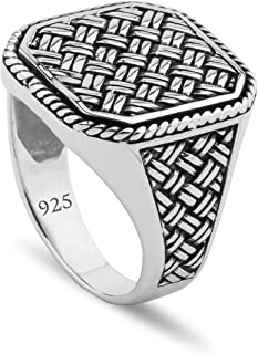 Chicotta Men's Woven/Mesh Design Solid 925 Stamped Sterling Silver Ring