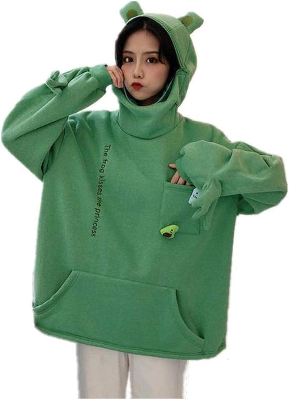 Fashion Women Novelty Zipper Frog Hoodie Y2K Girls Animal Sweatshirt with Pockets Pullover Top T Shirt Tees
