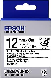 Fita Aderente a Tecido Epson Preto no Branco 12MMx9M LK-4WBQ