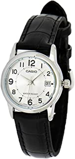 Casio Women's White Dial Leather Band Watch - Ltpv002L-7B, Black Band, Analog Display