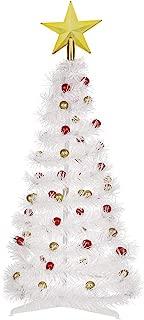 Balai 2 Foot Tabletop Artifical Christmas Tree White Tinsel Tree Decor with Fiber Optics