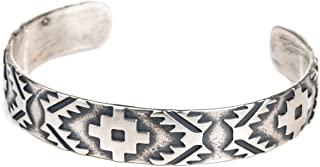 Tskies Skyweaver Sterling Silver Bracelet for Women Navajo Rug Cuff Design Native American