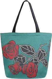 Mnsruu Mnsruu Handtasche aus Segeltuch, für Damen, mit Griff, Einkaufstasche, Vintage-Rosen-Blumen-Design, Türkis/Grün