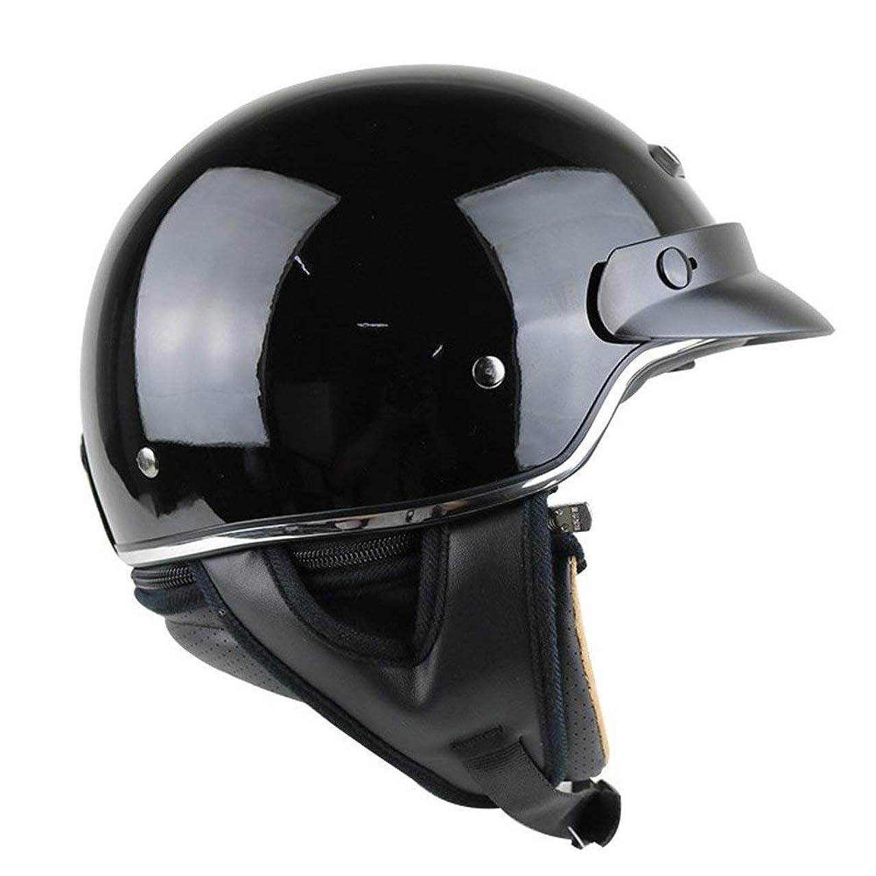 ロッド盲信望みHongkaiバイクヘルメット Bike Helmet ハーフヘルメット 半帽ヘルメット 半キャップ メンズ レディース hk-M55 半帽 バイク?ハーフ シールド付き 防寒イヤーカバー付き 男女兼用