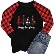 HAPPIShare Merry Christmas Leopard Tree T Shirts Womens Plaid Splicing Long Sleeve Raglan Baseball Tees Tops