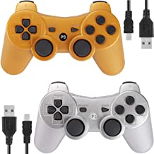 PS3 Controller Wireless for Playstation 3 Dual shock (Pack of 2, Gold and Silver)
