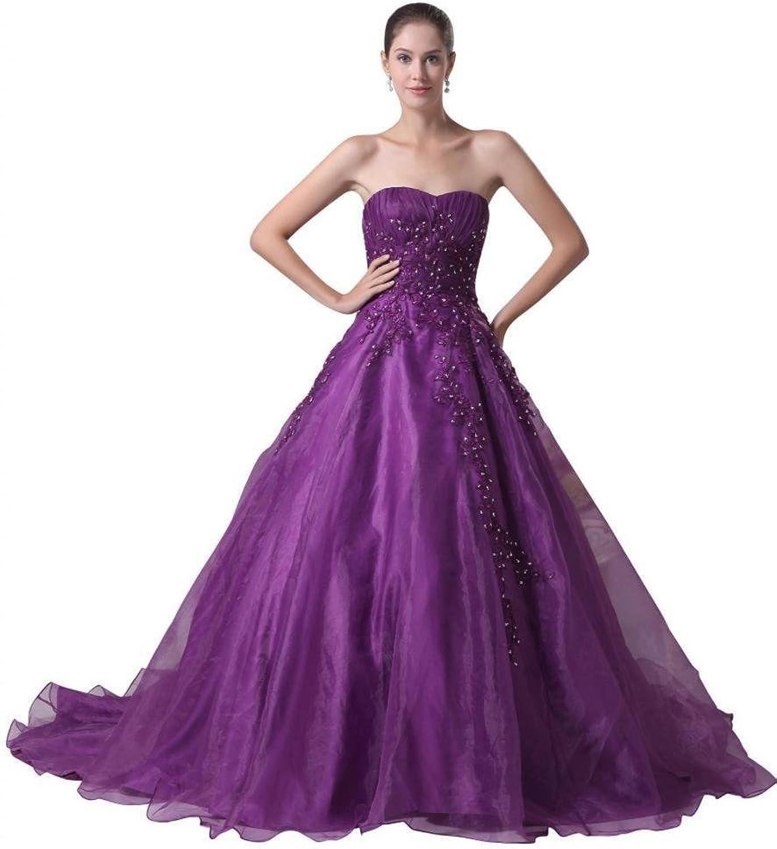 Dearta Women's ALine Sweetheart Court Train Organza Quinceanera Dresses