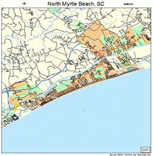 Image Trader Large Street & Road Map of North Myrtle Beach, South Carolina SC - Printed Poster Size Wall Atlas of Your