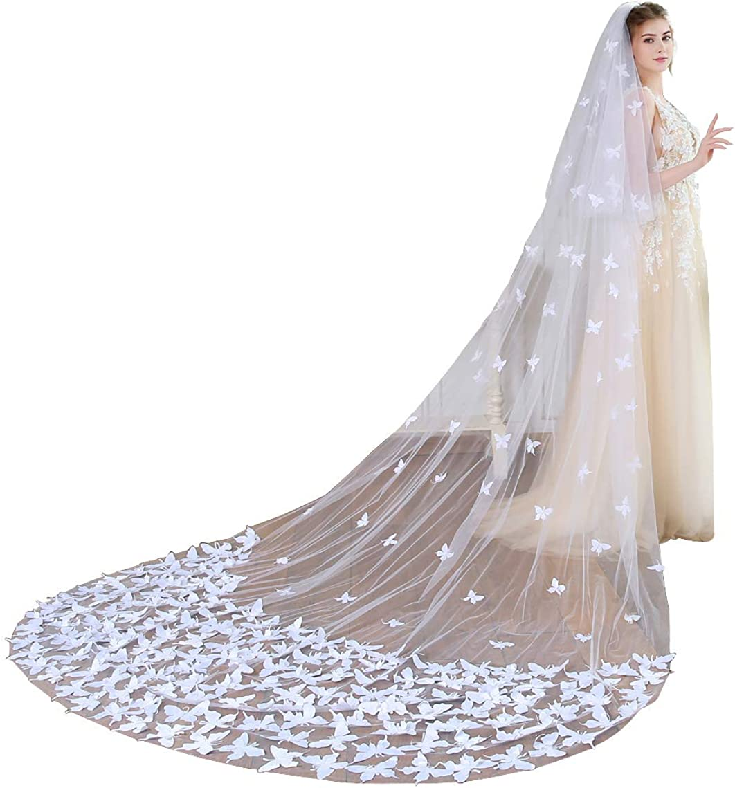 Butterfly Wedding Veils Long 2 Tier Bridal Veils Cathedral Length with Blusher