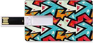 16 GB Unidades flash USB flash Resumen Forma de tarjeta de crédito bancaria Clave comercial U Disco de almacenamiento Memory Stick Patrón de flecha gráfica con efecto grunge Funky Psychedelic Colorful