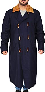 TrendHoop Red Dead Redemption 2 Wool Blue Long Coat with Sherling Collar Style