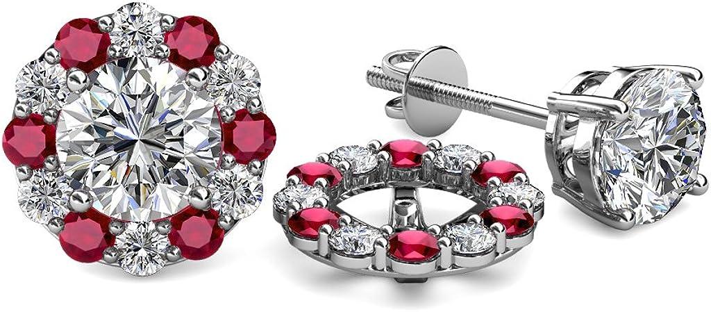 TriJewels TriJewels Diamond and Ruby 0.74 Carat tw Women Halo Jackets for Stud Earrings in 14K White Gold