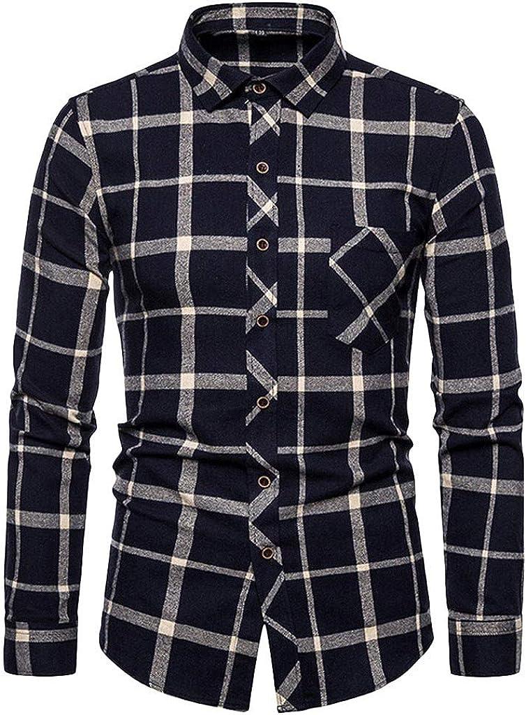 LEIYAN Mens Casual Cotton Linen Button Down Shirts Summer Long Sleeve Slim Fit Plaid Print Outdoor Training Tops