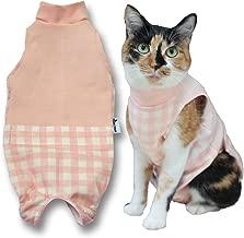 ペットケアアドバイザー考案 お家での介護がしやすい猫用術後服 ピンクチェック・M