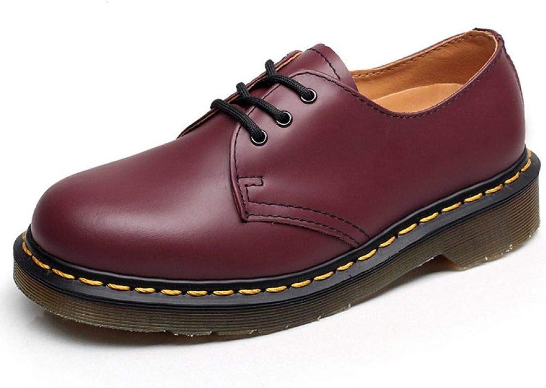 Women's Round Toe Leather Oxfords Lace Up Plain Tone Classic Unisex Dress shoes Flats