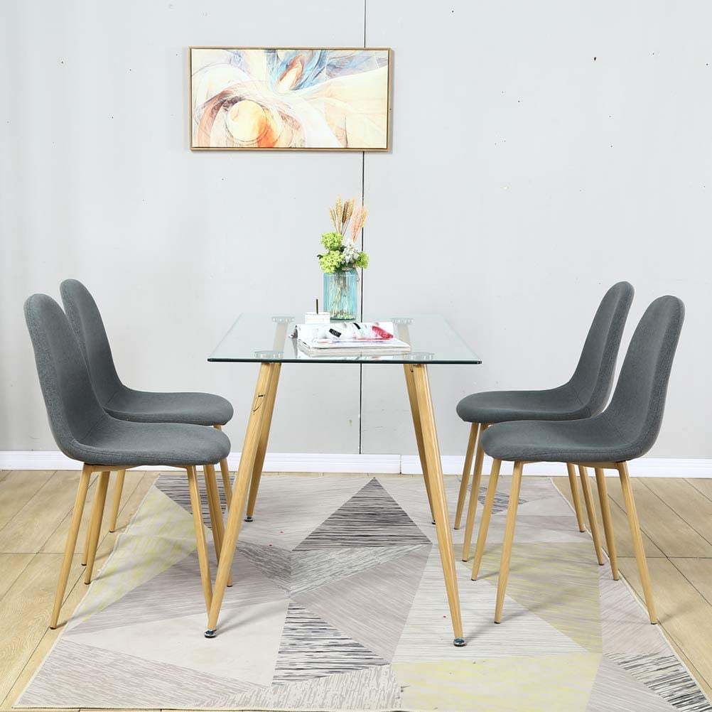 4Grey Chairs Mid Century Dining Room Chairs Set of 4,Modern Dining Chairs,Kitchen Chairs with Fabric Cushion Seat Back,Living Room Chairs with Wood Printed Transfer Metal Legs for Dining Room,Kitchen