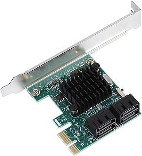Mavis Laven SATA III 4 Puertos Tarjeta controladora PCI-e x1, Tarjeta de expansión SATA 3.0 4 Puertos PCIE a SATA 3.0 Adaptador de Tarjeta controladora de expansión 6G