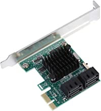 Oumij 4-Port PCIE to SATA 3.0 Expansion Controller Card Adapter 6G,Mini PCI-E USB 3.0 Hub Controller Adapter, No Additional Power Connection