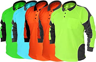 BIG BEE HI VIS Polo Shirt ARM Panel with Piping,Fluoro Work WEAR Cool Dry,Long Sleeve