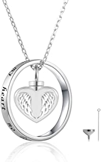 ACJFA 925 Sterling Silver Angel Wings Cremation Jewelry Keepsake Heart Urn Pendant Necklace for Ashes - No longer by My Side but Forever in My Heart