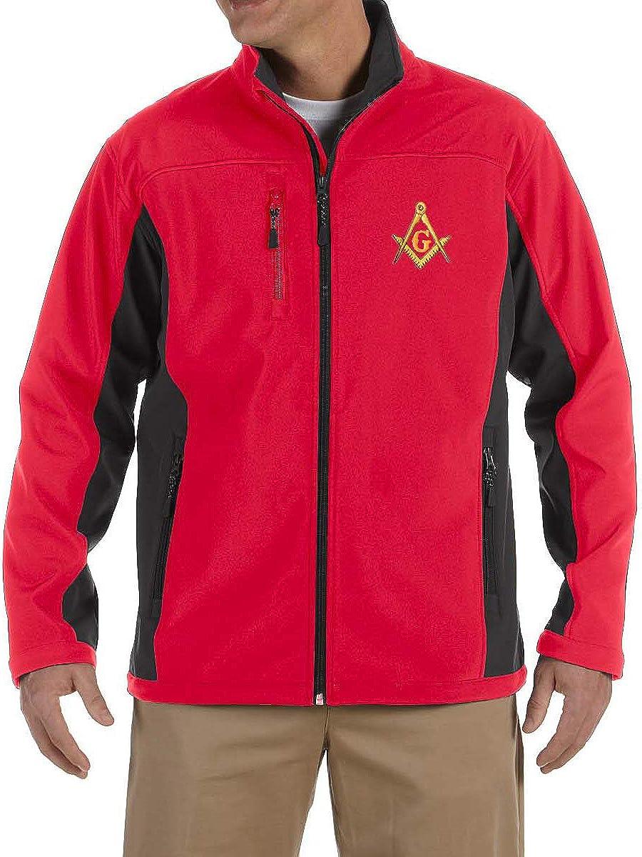 捧呈 Gold Square Compass Embroidered Masonic Soft Jacke 2020新作 Shell Men's