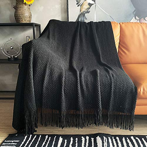 LOMAO Knitted Throw Blanket with Tassels Bubble Textured Lightweight Throws for Couch Cover Home...